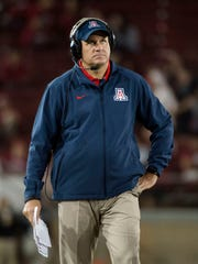Oct. 3, 2015; Palo Alto, Calif.; Arizona Wildcats coach Rich Rodriguez looks on during the fourth quarter against the Stanford Cardinal at Stanford Stadium.