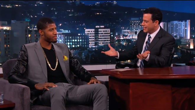 Pacers' Paul George sat down with late night talk show host Jimmy Kimmel Monday night.