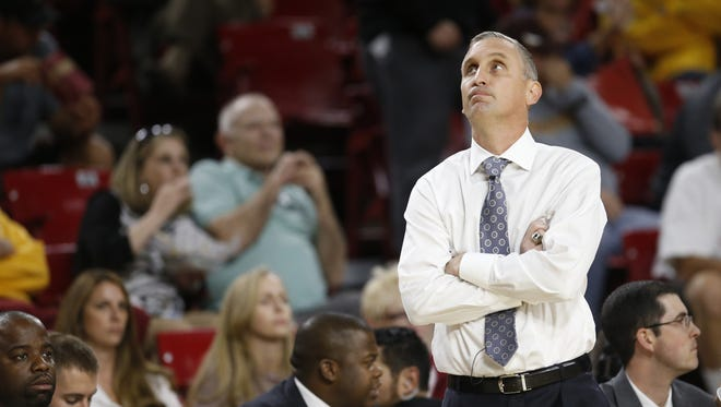 ASU head coach Bobby Hurley reacts during a disappointing first half of the men's basketball season opener against Sacramento State at Wells Fargo Arena in Tempe on November 13, 2015.