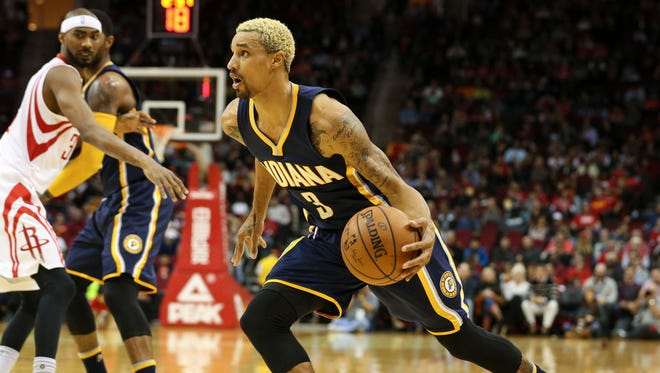 Indiana Pacers guard George Hill (3) drives to the basket during the first quarter against the Houston Rockets at Toyota Center.
