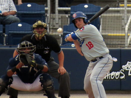 Ryan Adams of the Chattanooga Lookouts swings on a pitch by Michael Lorenzen of the Pensacola Blue Wahoos during their game Thursday evening at the Blue Wahoos stadium.