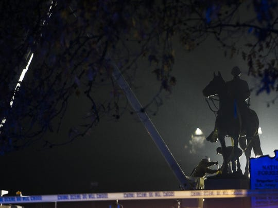 The Nathan Bedford Forrest statue, being removed from a Memphis park.