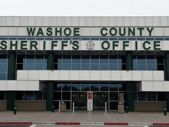 A file photo showing the front of the Washoe County Sheriff's Office, located on Parr Boulevard in north Reno.