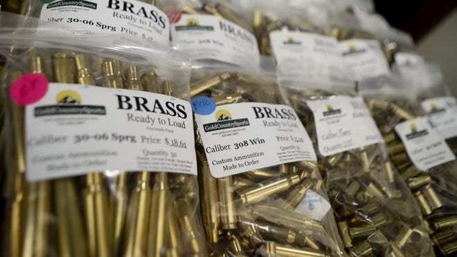 Greg Barnette/Record SearchlightGuns and gun equipment, such as these shell casings, were for sale Saturday at the Veterans of Tehama County Gun Show in Red Bluff.
