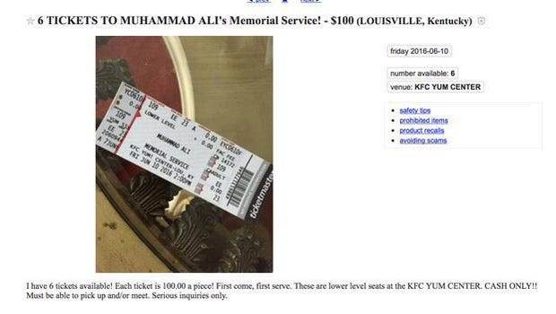 A post on Craigslist claims to offer six tickets to the Friday memorial service for Muhammad Ali for $100. The tickets were given out for free on a first-come, first-served basis Wednesday morning.