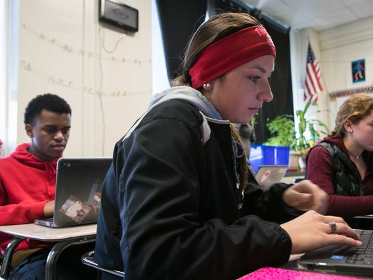 Maddi Tiberi works on a project in her dual-enrollment sociology class. Red Clay has been recognized for increasing the number of students in Advanced Placement and dual-enrollment classes.