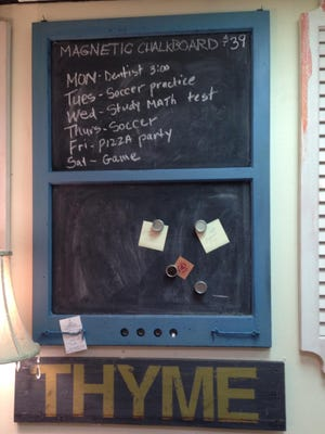 An old window is transformed into a magnetic chalkboard.