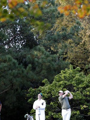 Rory McIlroy tees off on No. 5 on Monday during his practice round at Augusta National Golf Club for the Masters Tournament. McIlroy has not been at his best over recent months after a strong start to the 2020 season.