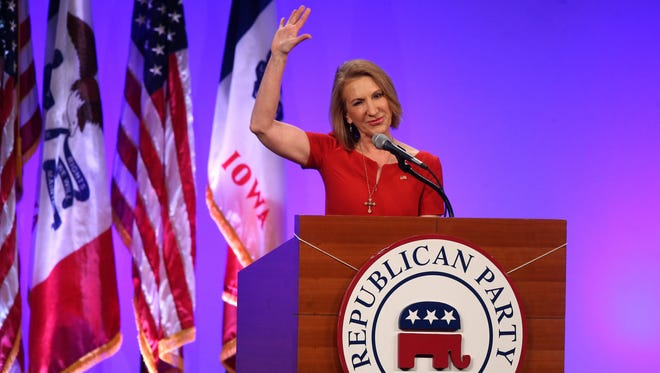 Carly Fiorina spoke on Saturday, May 16, 2015, during the 2015 Lincoln Dinner in Des Moines, Iowa.