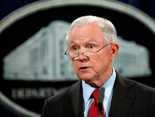 Attorney General Jeff Sessions speaks during a news