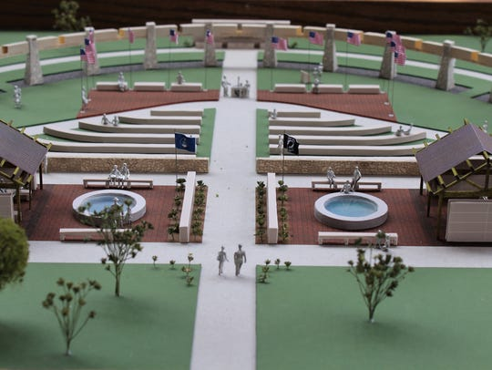 A model depicts the expansion planned for Dyess Memorial Park.