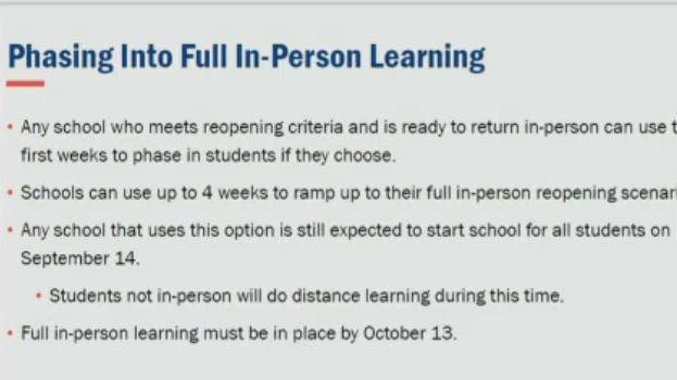 A slide displayed at Gov. Gina Raimondo's Aug. 31 news conference.