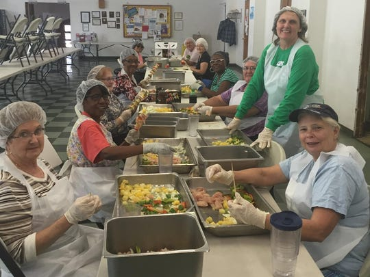Potters Wheel Take a look back at the Potter's Wheel kabob assembly line. Each day, volunteers prepared the Deaconess Health Choice Chicken Kabobs for their booth during the West Side Nut Club Fall Festival. In the photo are Susan Hansen, Martha Gilbert, Marcie Nellis, Molly Greene, Sharon Whitehead, Dean Enochs, Marie Doud, Jacqueline Wilson, Jan Kipps and Rita Williams.  Money raised at the Fall Festival supports the Youth Outreach/After School programs at the Potter's Wheel.