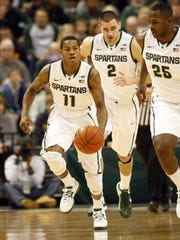 Michigan States' Keith Appling brings the ball up
