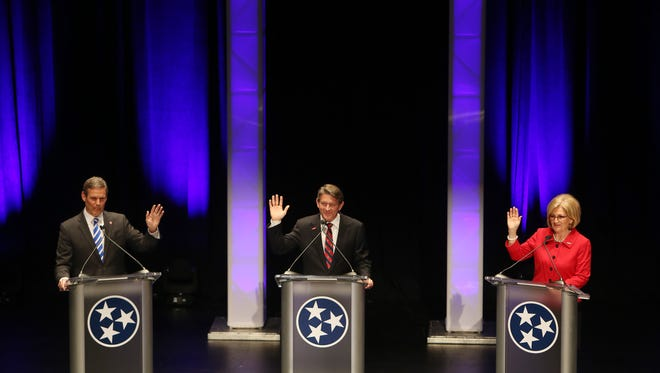 April 18, 2018 - (Left to right) - Bill Lee, Randy Boyd, and Diane Black participate in the West Tennessee Gubernatorial Debate at the Halloran Centre in Memphis on Wednesday.