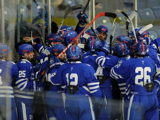 Detroit Catholic Central celebrates its 4-3 win over