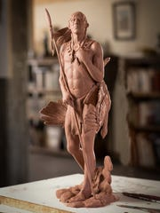 A preliminary maquette shows Vic Payne's plan for a sculpture of Tuerto, a Jumano Native American brave.