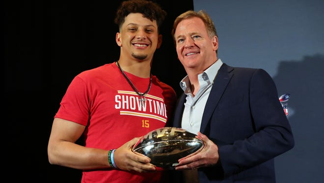 NFL commissioner Roger Goodell presents Chiefs quarterback Patrick Mahomes with the Super Bowl MVP trophy in February. On Friday, both came out in support of protesters, including Colin Kaepernick, who oppose police brutality and racial injustice