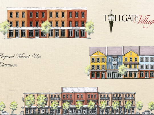A rendering of the proposed mixed-use buildings submitted by MBSC TN Homebuilder, LLC., the developer for Tollgate Village in Thompson's Station