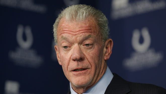 Indianapolis Colts owner and CEO Jim Orsay announces the he has fired general manager Ryan Grigson during a press conference Saturday, January 21, 2017, late afternoon at the Colts complex on W 56th Street.