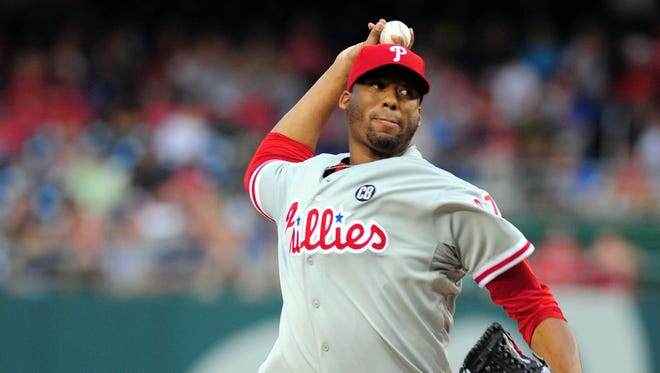 Philadelphia Phillies pitcher Roberto Hernandez (27) throws a pitch in the first inning Friday against the Washington Nationals at Nationals Park. Credit: Evan Habeeb-USA TODAY Sports
