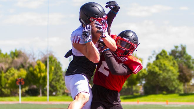 Southern Utah wide receiver Ty Rutledge makes a catch in the end zone during practice on Wednesday, August 9, 2017.