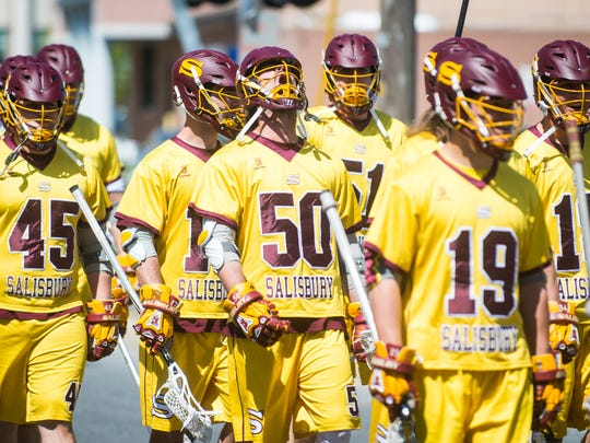 The Salisbury University men's lacrosse team takes part in the last Tunnel Walk before playing Cabrini on Saturday, April 16 at Sea Gull Stadium.