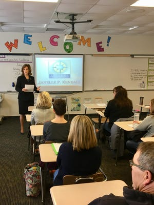 Stearns County Attorney Janelle Kendall conducts a breakout session at Rocori.