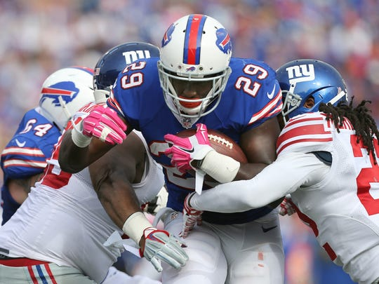 Bills running back Karlos Williams has scored a touchdown in each of his first six games.