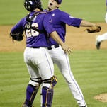 LSU pitcher Joe Broussard and catcher Chris Chinea chest bump after a recent win. The Tigers are set at closer and in the first two starting spots in the rotation, but still searching for a consistent No. 3 weekend starter.