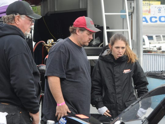Pensacola's Johanna Long talks with her race crew during