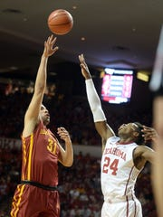 Iowa State Cyclones forward Georges Niang shoots against