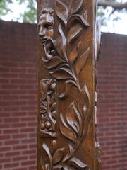 The Garden Column stands in the courtyard at the Grace Museum Wednesday. The sculpture was created by Michael Pavlovsky.