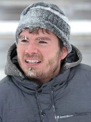 Joseph Mezza's face shows what it is like sledding