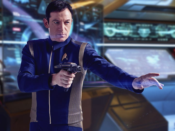 Captain Gabriel Lorca (Jason Isaacs) provides a burst