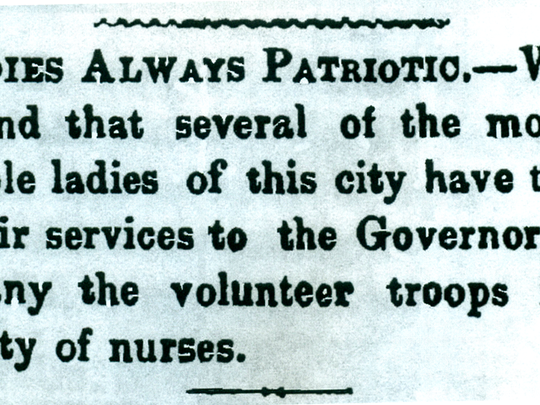 The April 4, 1861, Broad Axe of Freedom reports on local women about to render service as nurses for Hoosier soldiers in the American Civil War.