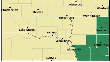 A Flash Flood Watch issued for the Sioux Falls area has been lifted. Southeastern South Dakota towns should see less than a half-inch of rain Thursday.