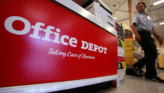 This July 12, 2010, file photo shows signage at an Office Depot store in Mountain View, Calif. Office Depot reports financial results Wednesday, Aug. 3, 2016.