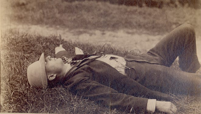 Rufus Stanley, who started many clubs for Elmira children, takes a well-deserved nap in this image from 1868.