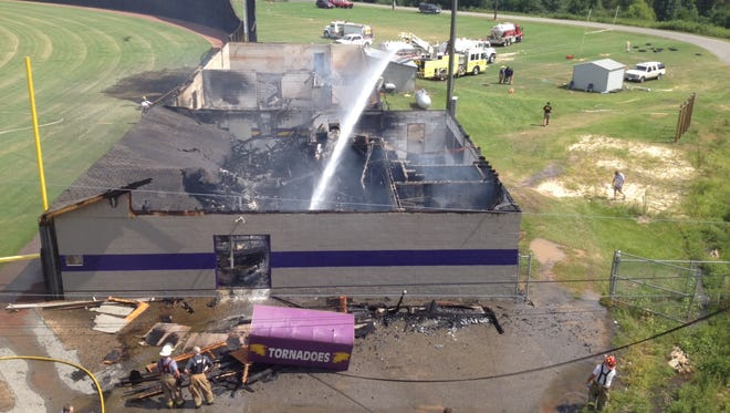 A fire today destroyed the Purvis High field house.