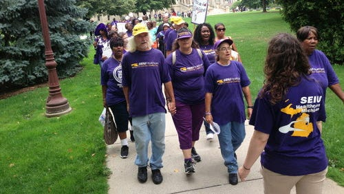 Protest in Lansing, Michigan last year urging  for Medicaid expansion.