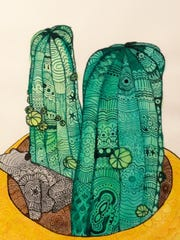 Pen-and-ink cactus drawing by Isabelle Austgen of Gibraltar High School, part of the 43rd Annual Salon of Door County High School Art at the Miller Art Museum in Sturgeon Bay.