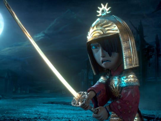Kubo (voiced by Art Parkinson) faces off against the