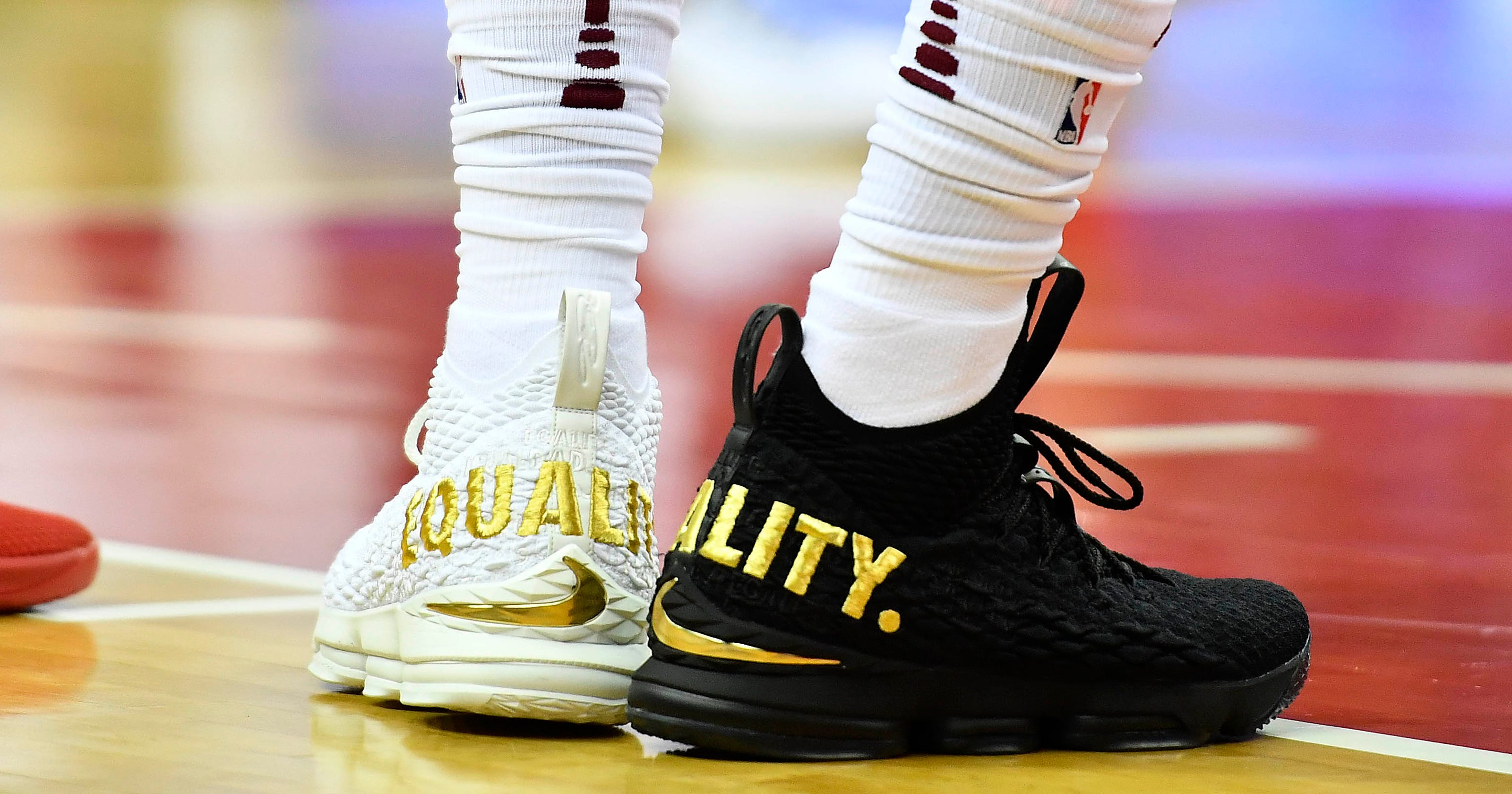 on sale e1b83 5ba0c LeBron James makes statement with  Equality  sneakers worn in D.C.