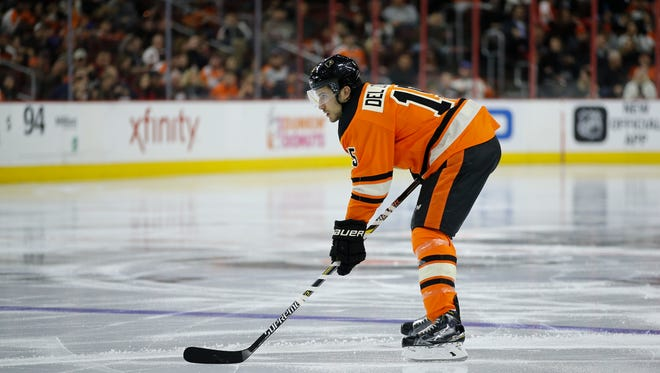 Michael Del Zotto worsened an injury in the third period of Saturday's loss to the Devils.