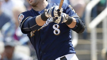 Mar 29, 2016; Phoenix, AZ, USA; Milwaukee Brewers right fielder Ryan Braun (8) reacts after striking out against the Cincinnati Reds in the first inning during a spring training game at Maryvale Baseball Park. Mandatory Credit: Rick Scuteri-USA TODAY Sports