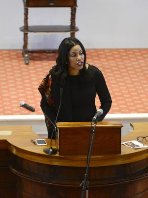 Ilyasah al Shabazz, a daughter of human rights activist Malcolm X, speaks at the First Unitarian Universalist Society Church in Burlington on Sunday.