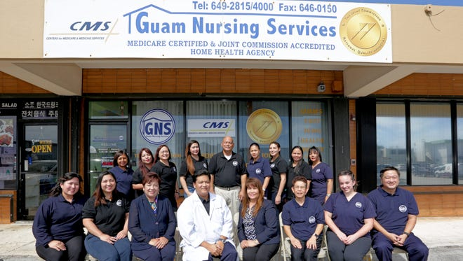 Congratulations to Guam Nursing Services Home Health staff and management on being awarded The Joint Commission Accreditation after their recent re-survey. The Joint Commission recognizes Guam Nursing Services Home Health's dedication to continuous compliance with their state of the art standards. First row from left: Nicole Duenas, Abby Ponce, Grace De Jesus, Joanna Mercado, Anthony Gogue, Mary Jane Miller, Barbara Reyes, Cherry Padilla, Ruby Parks. Second row from left: Kristine Pedrajas, Krystle Castro, Vangie Isidro, Dr. Randy Leon Guerrero, Elizabeth Cauley, Baby Julia Martin, Jade Vallejo, John Young.