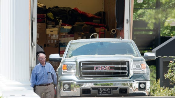 Former Governor Robert Bentley prepares to move out of the Alabama Governors Mansion on Friday, April 14, 2017, in Montgomery, Ala., after resigning as Governor on Monday.