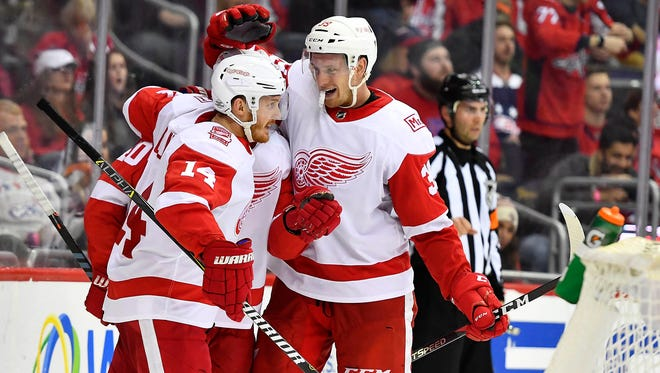 Red Wings right wing Anthony Mantha (39) reacts after scoring a goal against the Capitals during the second period on Sunday, Feb. 11, 2018, in Washington.